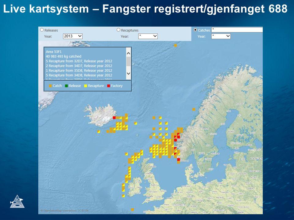 Live kartsystem – Fangster registrert/gjenfanget 688