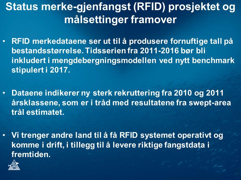 Status merke-gjenfangst (RFID) prosjektet og målsettinger framover RFID merkedataene ser ut til å produsere fornuftige tall på bestandsstørrelse. Tids