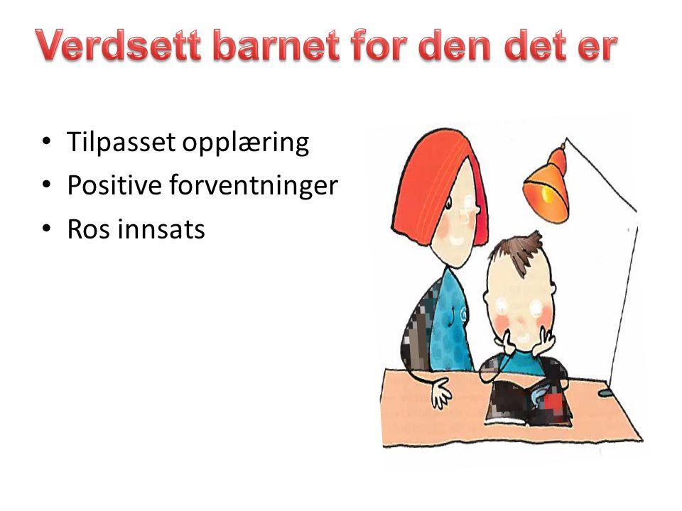 Tilpasset opplæring Positive forventninger Ros innsats
