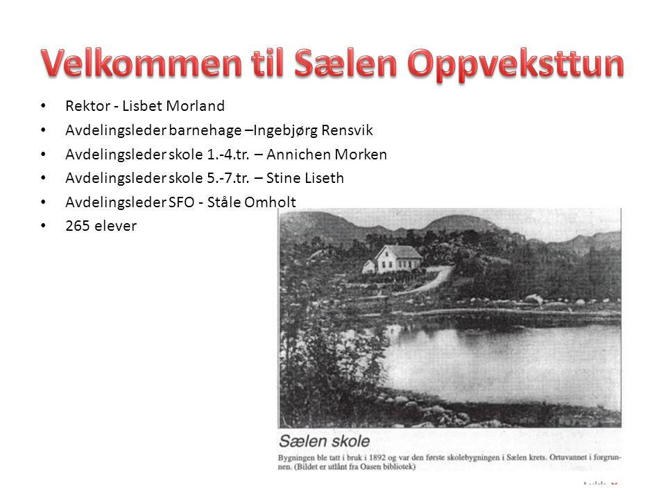 Rektor - Lisbet Morland Avdelingsleder barnehage –Ingebjørg Rensvik Avdelingsleder skole 1.-4.tr. – Annichen Morken Avdelingsleder skole 5.-7.tr. – St
