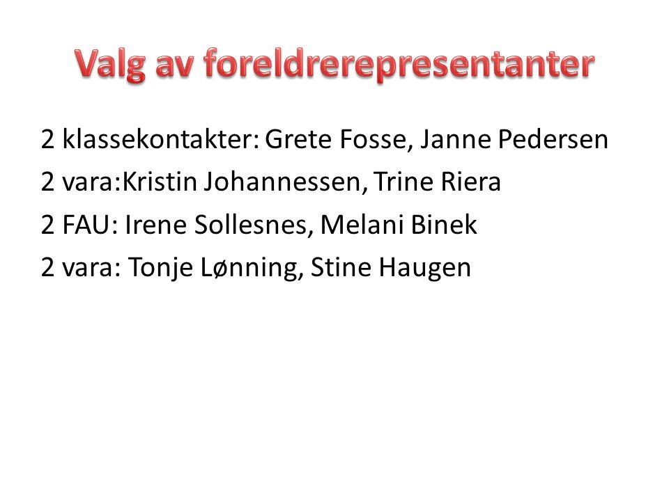 2 klassekontakter: Grete Fosse, Janne Pedersen 2 vara:Kristin Johannessen, Trine Riera 2 FAU: Irene Sollesnes, Melani Binek 2 vara: Tonje Lønning, Sti