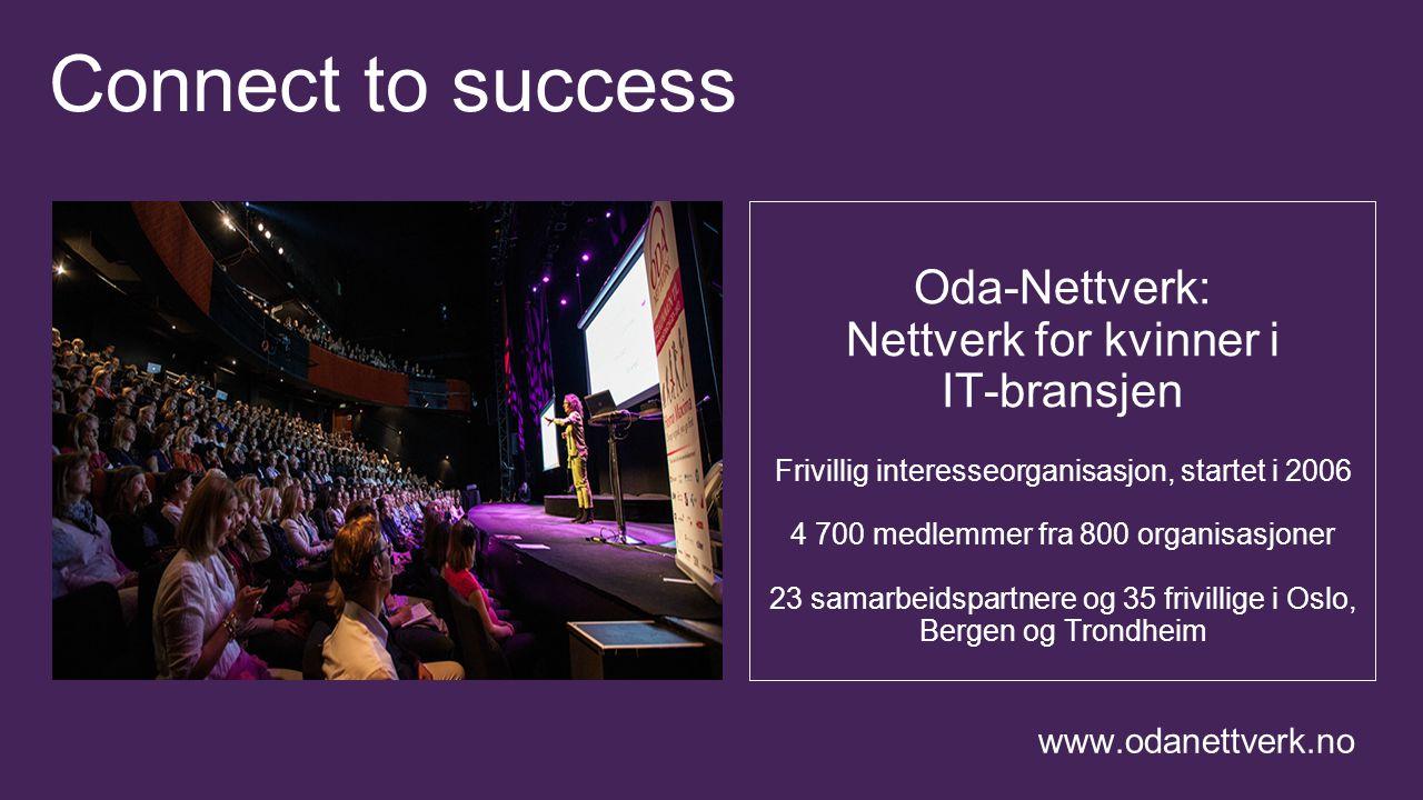 Connect to success Oda-Nettverk: Nettverk for kvinner i IT-bransjen Frivillig interesseorganisasjon, startet i 2006 4 700 medlemmer fra 800 organisasjoner 23 samarbeidspartnere og 35 frivillige i Oslo, Bergen og Trondheim www.odanettverk.no