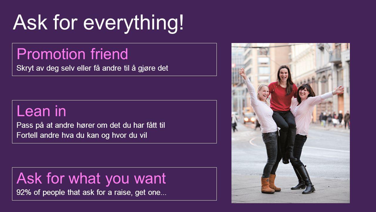 Ask for everything! Promotion friend Skryt av deg selv eller få andre til å gjøre det Lean in Pass på at andre hører om det du har fått til Fortell an