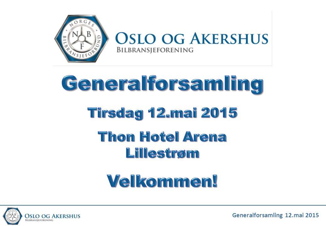 Dagsorden for generalforsamling Oslo og Akershus Bilbransjeforening 12.mai 2015 1.Formell konstituering av årsmøte 2.Styrets årsberetning for 2014 3.Revidert regnskap for 2014 med revisjonsberetning.