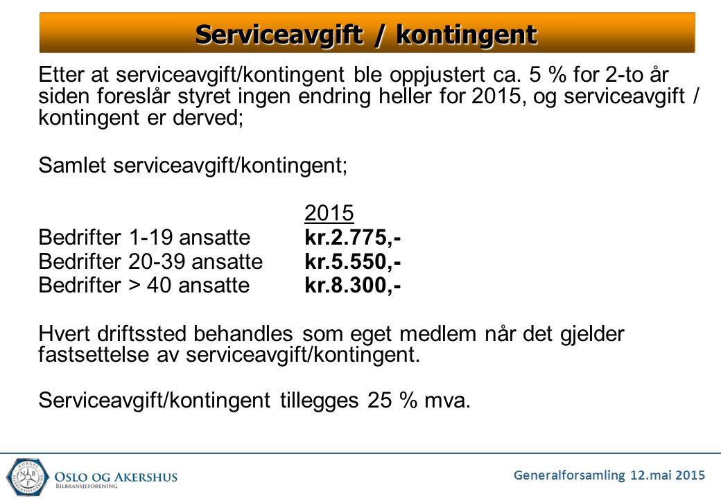 Generalforsamling 12.mai 2015 Serviceavgift / kontingent Etter at serviceavgift/kontingent ble oppjustert ca. 5 % for 2-to år siden foreslår styret in