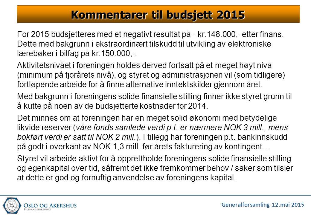 Generalforsamling 12.mai 2015 For 2015 budsjetteres med et negativt resultat på - kr.148.000,- etter finans. Dette med bakgrunn i ekstraordinært tilsk