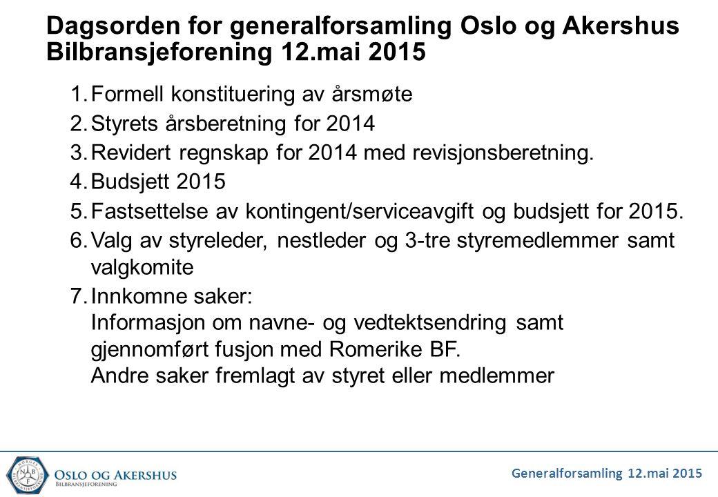 Dagsorden for generalforsamling Oslo og Akershus Bilbransjeforening 12.mai 2015 1.Formell konstituering av årsmøte 2.Styrets årsberetning for 2014 3.R