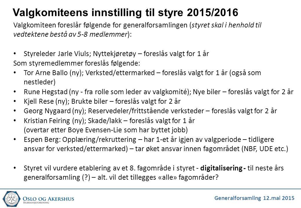 Generalforsamling 12.mai 2015 Valgkomiteens innstilling til styre 2015/2016 Valgkomiteen foreslår følgende for generalforsamlingen (styret skal i henh