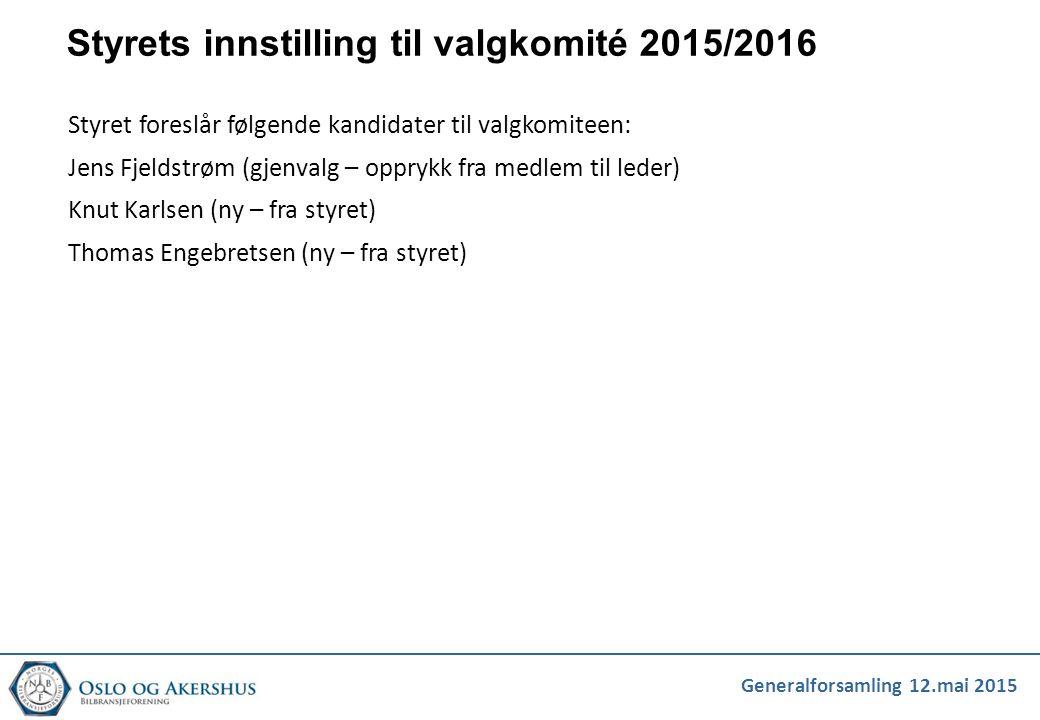Generalforsamling 12.mai 2015 Styrets innstilling til valgkomité 2015/2016 Styret foreslår følgende kandidater til valgkomiteen: Jens Fjeldstrøm (gjen