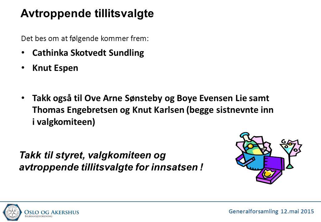 Generalforsamling 12.mai 2015 Avtroppende tillitsvalgte Det bes om at følgende kommer frem: Cathinka Skotvedt Sundling Knut Espen Takk også til Ove Ar