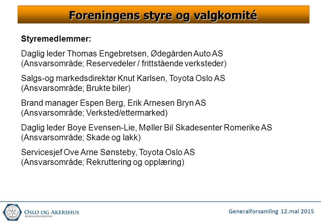 Generalforsamling 12.mai 2015 Foreningens styre og valgkomité Styremedlemmer: Daglig leder Thomas Engebretsen, Ødegården Auto AS (Ansvarsområde; Reser