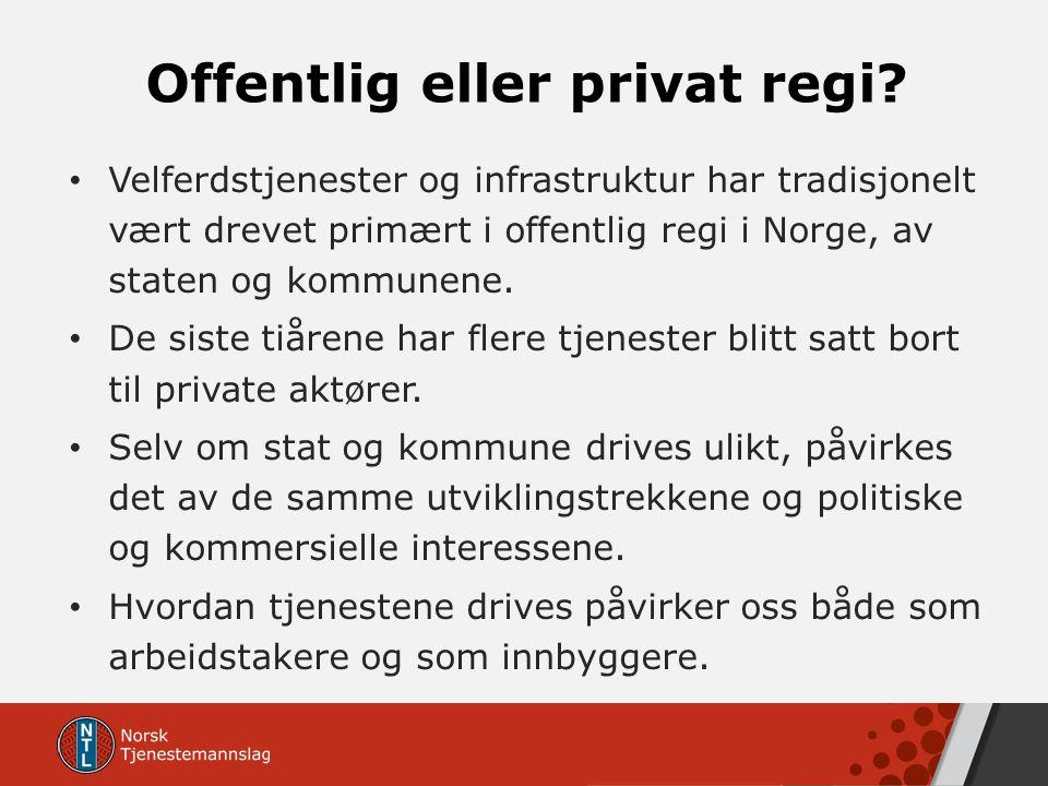 Offentlig eller privat regi? Velferdstjenester og infrastruktur har tradisjonelt vært drevet primært i offentlig regi i Norge, av staten og kommunene.
