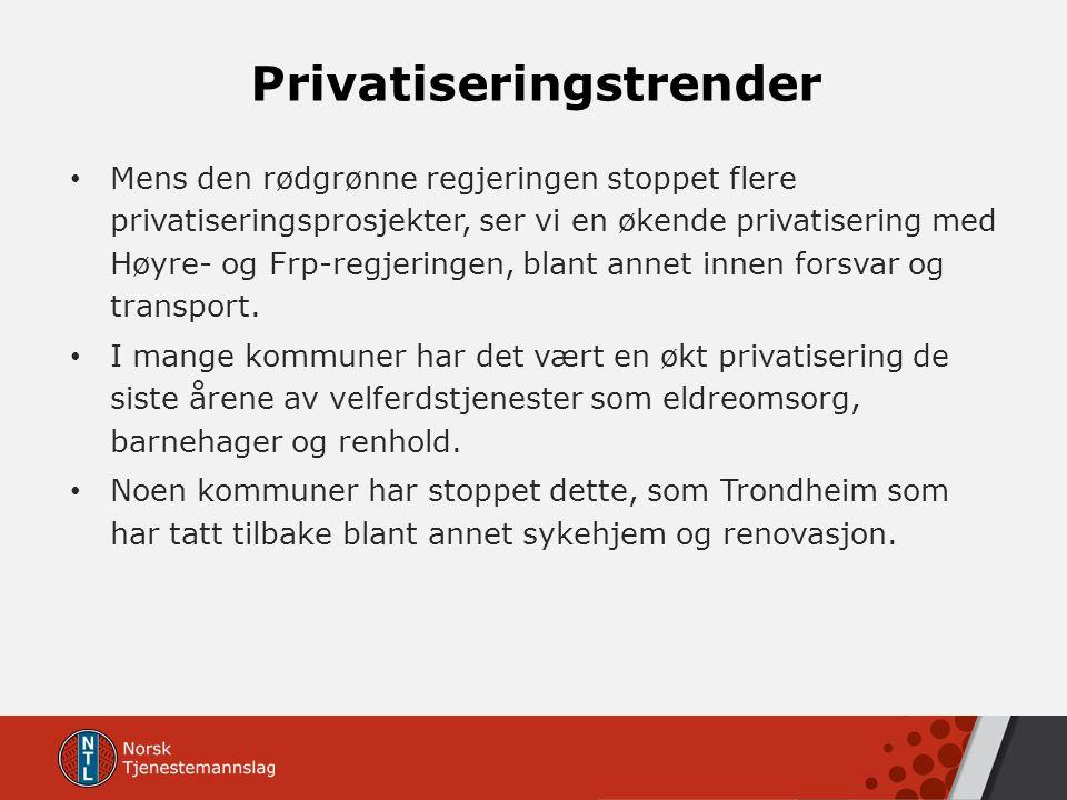 Privatiseringstrender Mens den rødgrønne regjeringen stoppet flere privatiseringsprosjekter, ser vi en økende privatisering med Høyre- og Frp-regjerin