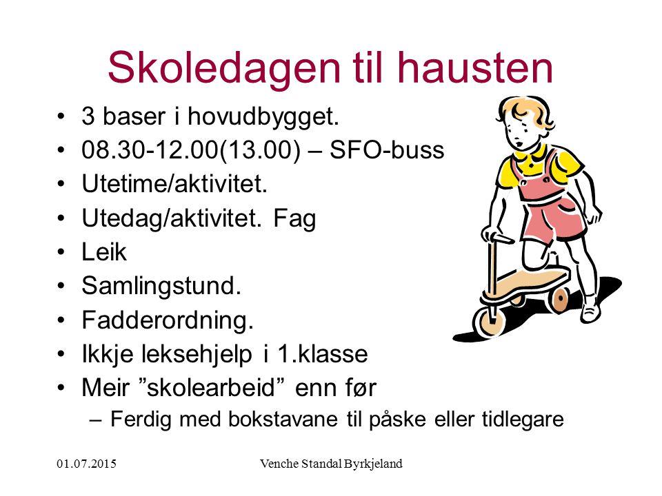 01.07.2015Venche Standal Byrkjeland Skoledagen til hausten 3 baser i hovudbygget. 08.30-12.00(13.00) – SFO-buss Utetime/aktivitet. Utedag/aktivitet. F