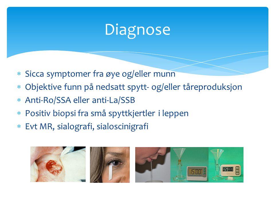  Sicca symptomer fra øye og/eller munn  Objektive funn på nedsatt spytt- og/eller tåreproduksjon  Anti-Ro/SSA eller anti-La/SSB  Positiv biopsi fr