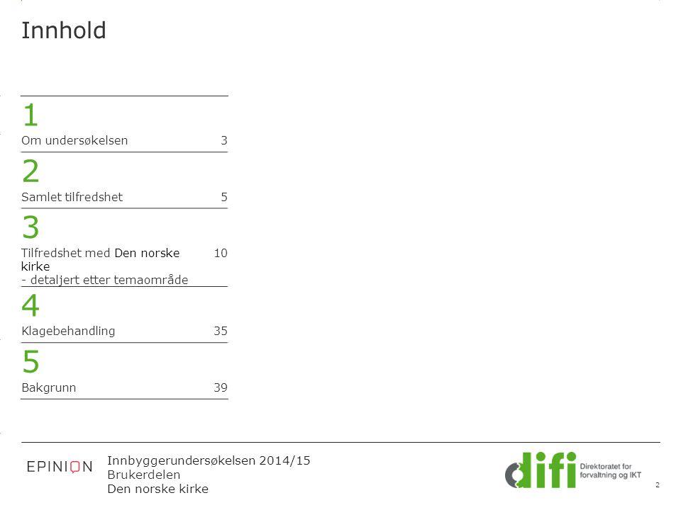 3.14 X AXIS 6.65 BASE MARGIN 5.95 TOP MARGIN 4.52 CHART TOP 11.90 LEFT MARGIN 11.90 RIGHT MARGIN Innbyggerundersøkelsen 2014/15 Brukerdelen Den norske kirke Figuren viser svarfordelingen i prosent.
