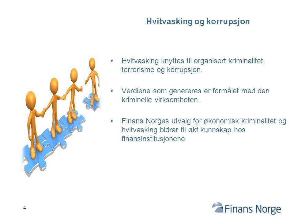 Hvitvasking og korrupsjon Hvitvasking knyttes til organisert kriminalitet, terrorisme og korrupsjon. Verdiene som genereres er formålet med den krimin