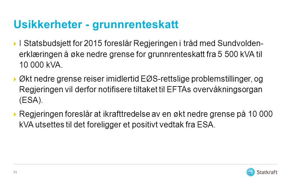 Usikkerheter - grunnrenteskatt  I Statsbudsjett for 2015 foreslår Regjeringen i tråd med Sundvolden- erklæringen å øke nedre grense for grunnrenteskatt fra 5 500 kVA til 10 000 kVA.