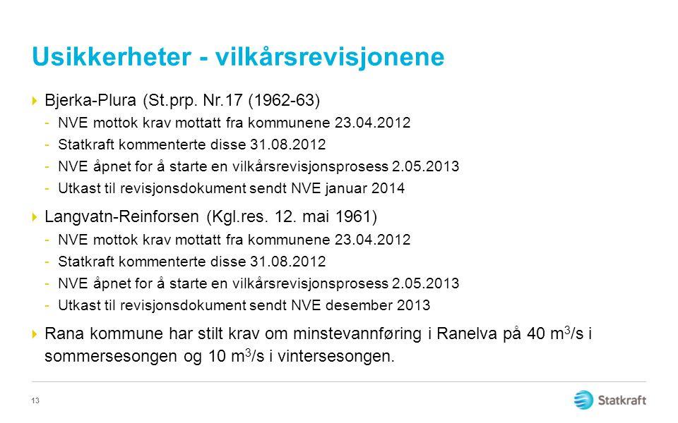 Usikkerheter - vilkårsrevisjonene  Bjerka-Plura (St.prp.