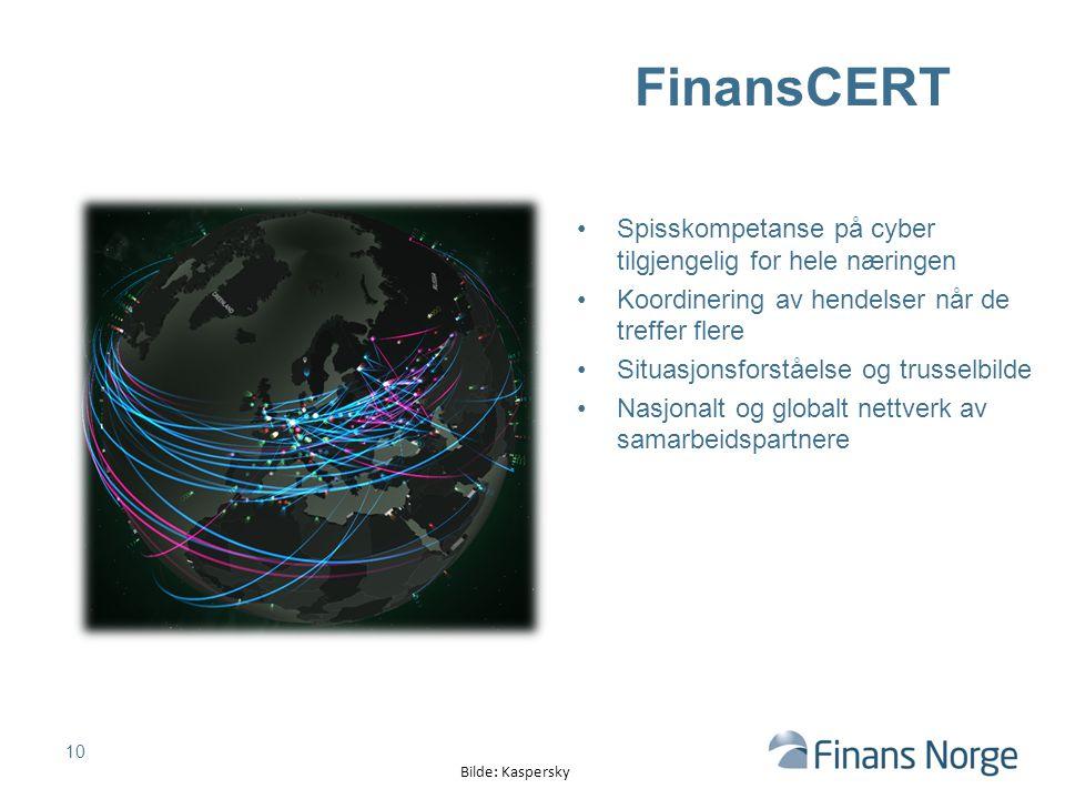 FinansCERT Spisskompetanse på cyber tilgjengelig for hele næringen Koordinering av hendelser når de treffer flere Situasjonsforståelse og trusselbilde