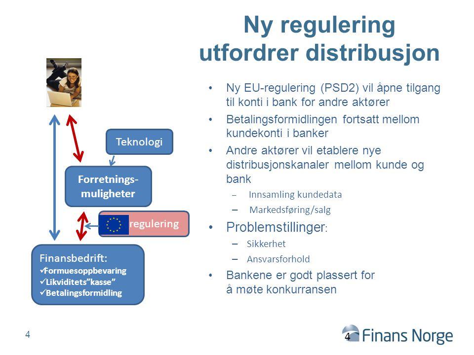 Ny regulering utfordrer distribusjon Ny EU-regulering (PSD2) vil åpne tilgang til konti i bank for andre aktører Betalingsformidlingen fortsatt mellom