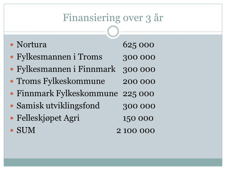 Finansiering over 3 år Nortura625 000 Fylkesmannen i Troms300 000 Fylkesmannen i Finnmark 300 000 Troms Fylkeskommune200 000 Finnmark Fylkeskommune225