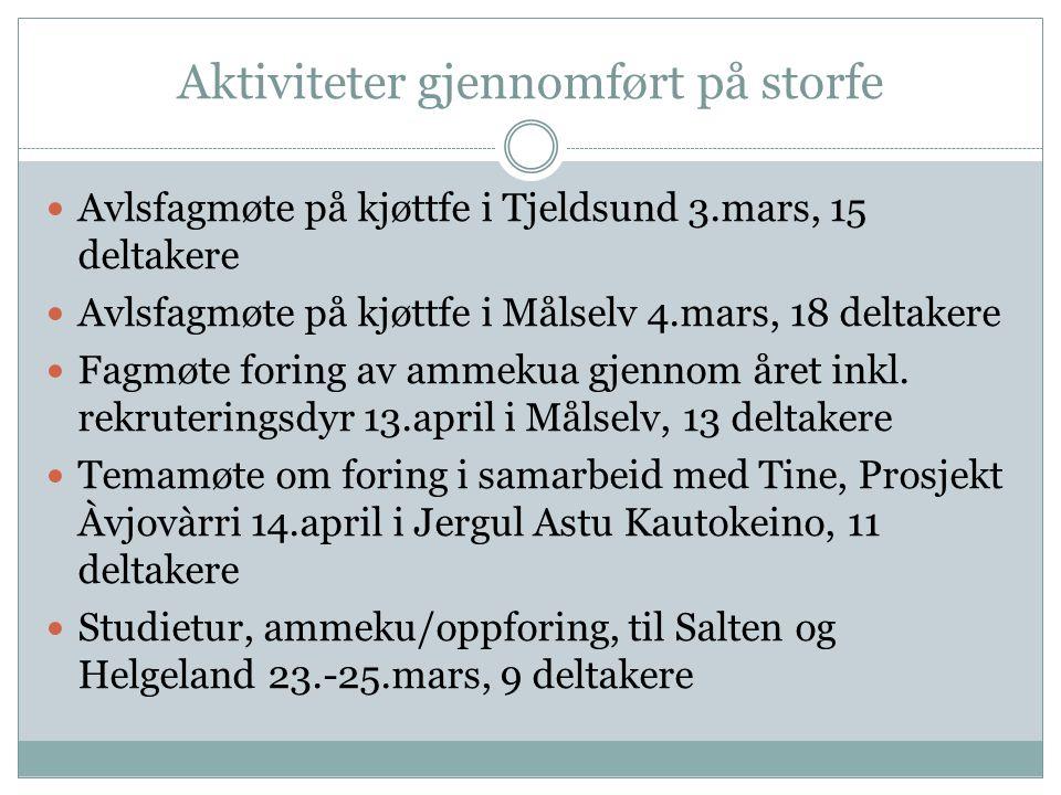 Aktiviteter gjennomført på storfe Avlsfagmøte på kjøttfe i Tjeldsund 3.mars, 15 deltakere Avlsfagmøte på kjøttfe i Målselv 4.mars, 18 deltakere Fagmøt