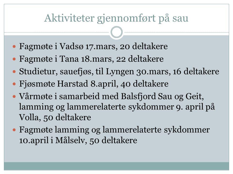 Aktiviteter gjennomført på sau Fagmøte i Vadsø 17.mars, 20 deltakere Fagmøte i Tana 18.mars, 22 deltakere Studietur, sauefjøs, til Lyngen 30.mars, 16