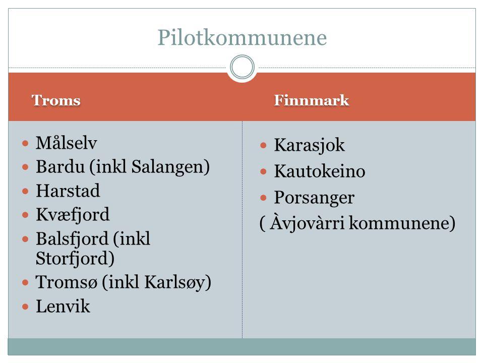 Troms Finnmark Målselv Bardu (inkl Salangen) Harstad Kvæfjord Balsfjord (inkl Storfjord) Tromsø (inkl Karlsøy) Lenvik Karasjok Kautokeino Porsanger (