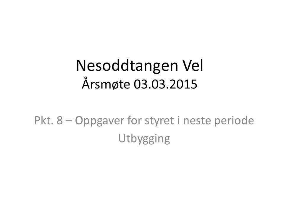Nesoddtangen Vel Årsmøte 03.03.2015 Pkt. 8 – Oppgaver for styret i neste periode Utbygging