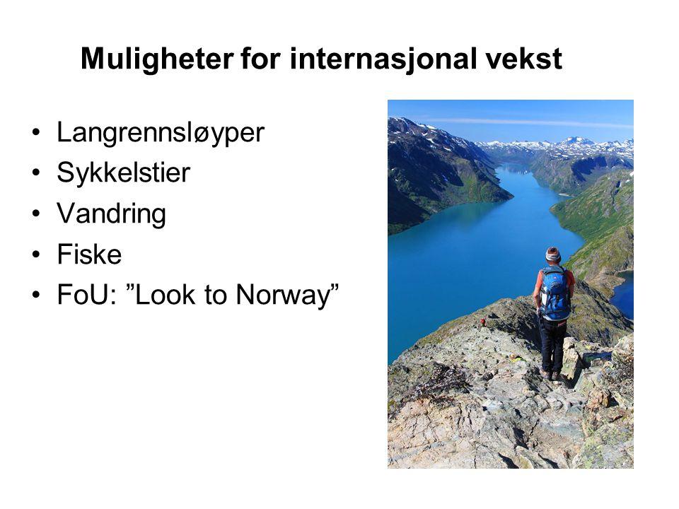 Muligheter for internasjonal vekst Langrennsløyper Sykkelstier Vandring Fiske FoU: Look to Norway