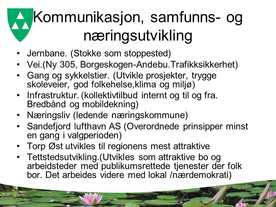 Kommunikasjon, samfunns- og næringsutvikling Jernbane. (Stokke som stoppested) Vei.(Ny 305, Borgeskogen-Andebu.Trafikksikkerhet) Gang og sykkelstier.