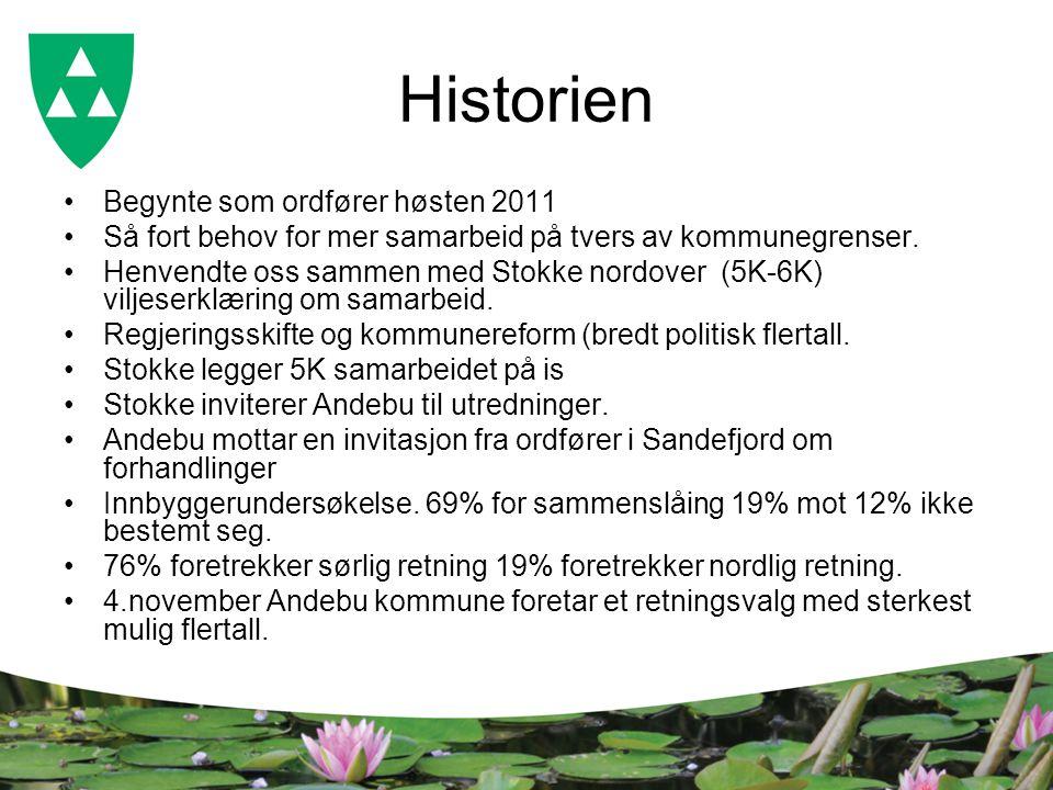 Historien Begynte som ordfører høsten 2011 Så fort behov for mer samarbeid på tvers av kommunegrenser. Henvendte oss sammen med Stokke nordover (5K-6K