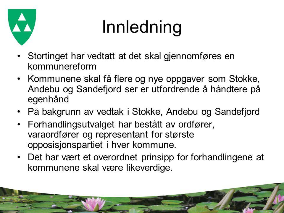 Innledning Stortinget har vedtatt at det skal gjennomføres en kommunereform Kommunene skal få flere og nye oppgaver som Stokke, Andebu og Sandefjord s