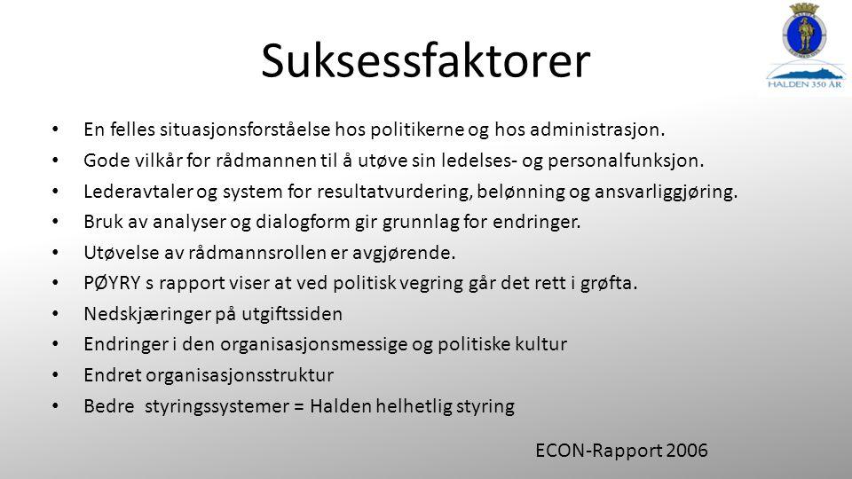 Suksessfaktorer En felles situasjonsforståelse hos politikerne og hos administrasjon.