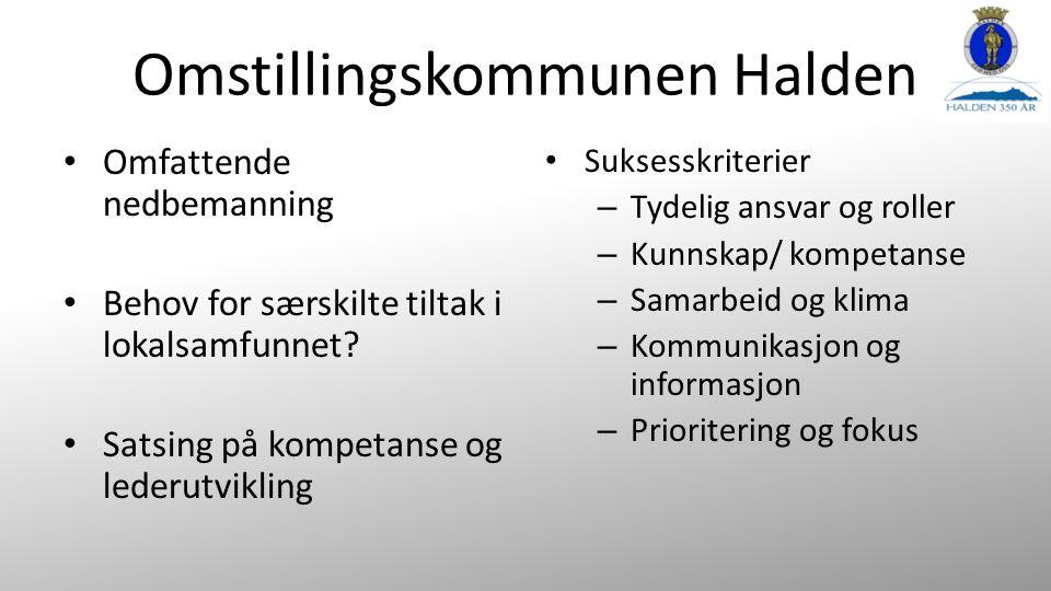 Omstillingskommunen Halden Omfattende nedbemanning Behov for særskilte tiltak i lokalsamfunnet.