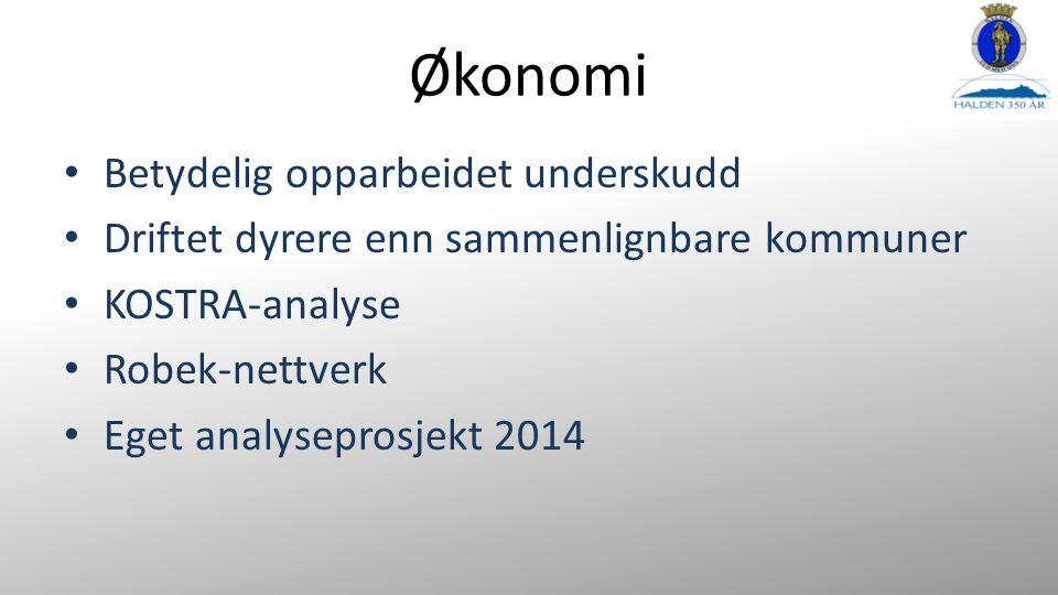 Økonomi Betydelig opparbeidet underskudd Driftet dyrere enn sammenlignbare kommuner KOSTRA-analyse Robek-nettverk Eget analyseprosjekt 2014