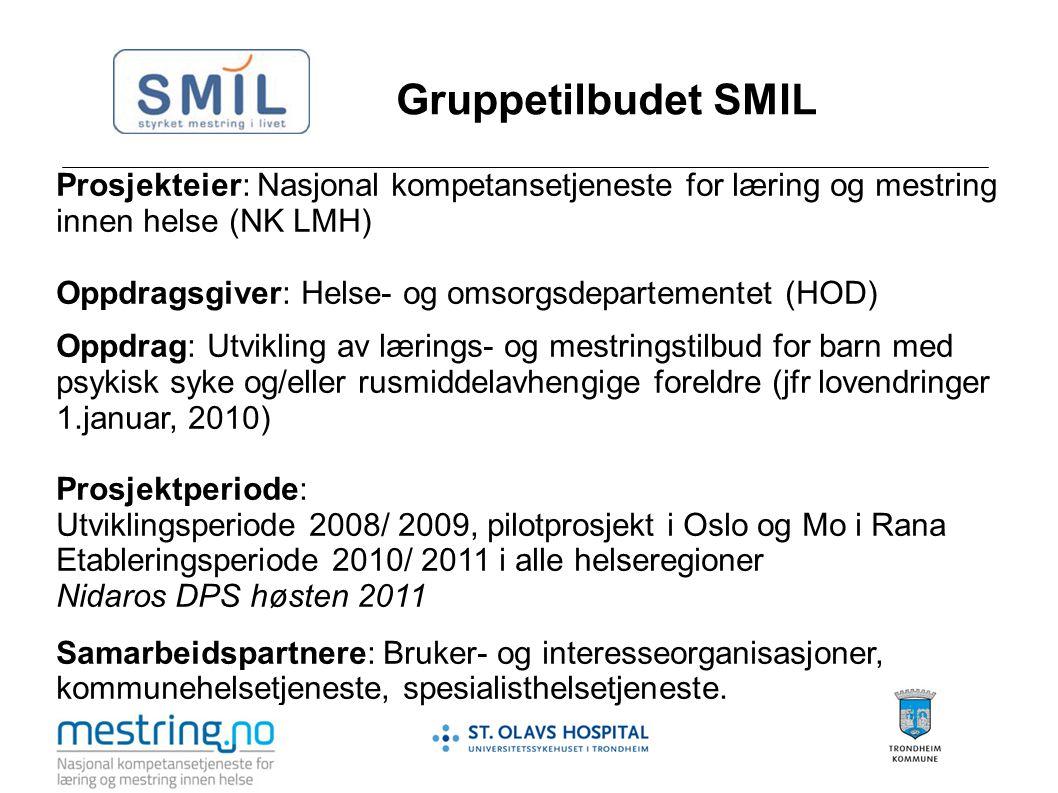 Gruppetilbudet SMIL Prosjekteier: Nasjonal kompetansetjeneste for læring og mestring innen helse (NK LMH) Oppdragsgiver: Helse- og omsorgsdepartemente