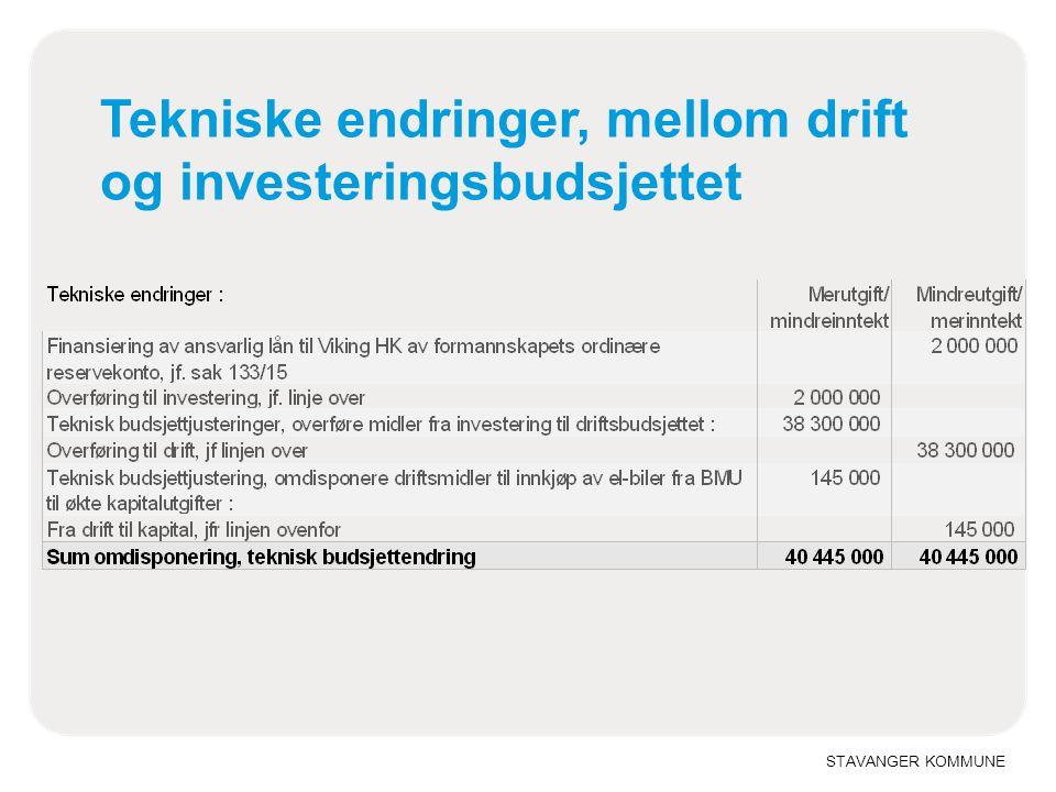 STAVANGER KOMMUNE Tekniske endringer, mellom drift og investeringsbudsjettet