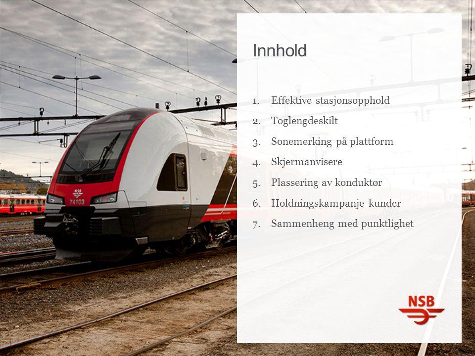 Innhold 1.Effektive stasjonsopphold 2.Toglengdeskilt 3.Sonemerking på plattform 4.Skjermanvisere 5.Plassering av konduktør 6.Holdningskampanje kunder