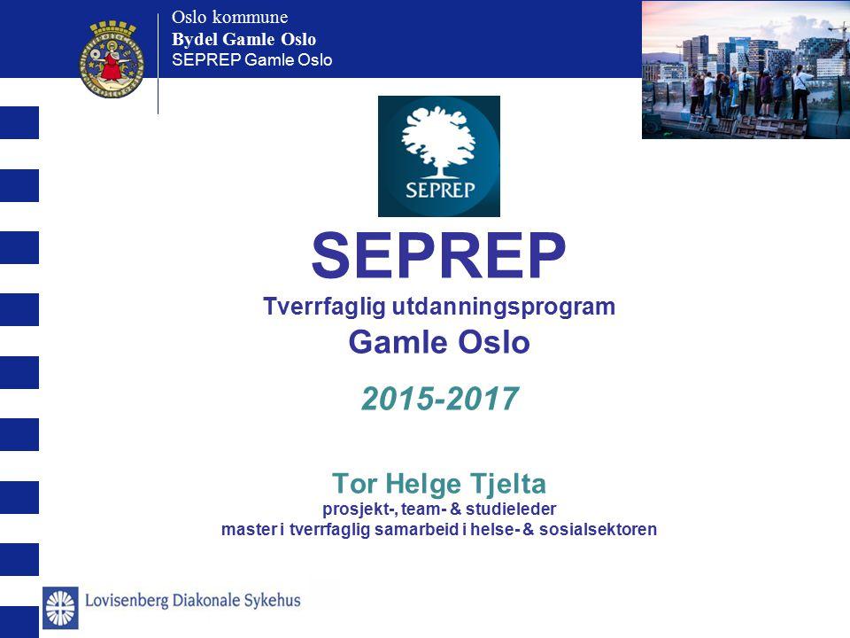 Oslo kommune Bydel Gamle Oslo Oslo kommune Bydel Gamle Oslo SEPREP Gamle Oslo SEPREP Tverrfaglig utdanningsprogram Gamle Oslo 2015-2017 Tor Helge Tjel