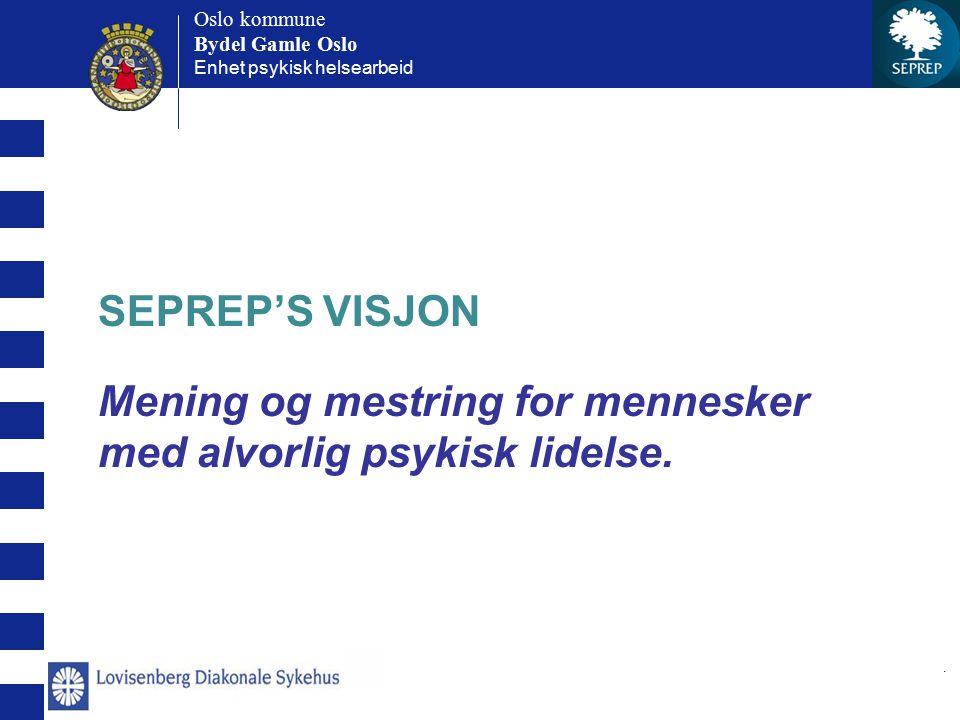 Oslo kommune Bydel Gamle Oslo Oslo kommune Bydel Gamle Oslo Enhet psykisk helsearbeid. SEPREP'S VISJON Mening og mestring for mennesker med alvorlig p