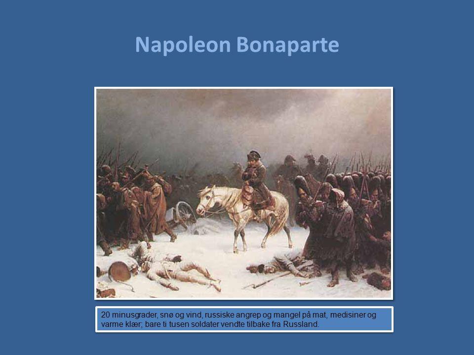 Napoleon Bonaparte 20 minusgrader, snø og vind, russiske angrep og mangel på mat, medisiner og varme klær; bare ti tusen soldater vendte tilbake fra R