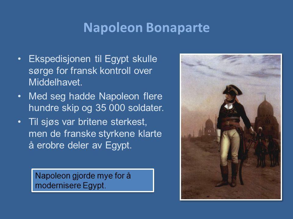 Napoleon Bonaparte Ekspedisjonen til Egypt skulle sørge for fransk kontroll over Middelhavet. Med seg hadde Napoleon flere hundre skip og 35 000 solda