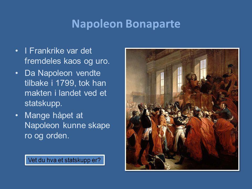 I Frankrike var det fremdeles kaos og uro. Da Napoleon vendte tilbake i 1799, tok han makten i landet ved et statskupp. Mange håpet at Napoleon kunne