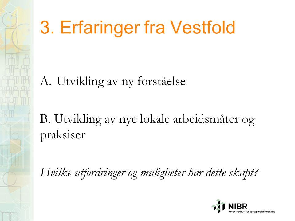 3. Erfaringer fra Vestfold A.Utvikling av ny forståelse B. Utvikling av nye lokale arbeidsmåter og praksiser Hvilke utfordringer og muligheter har det