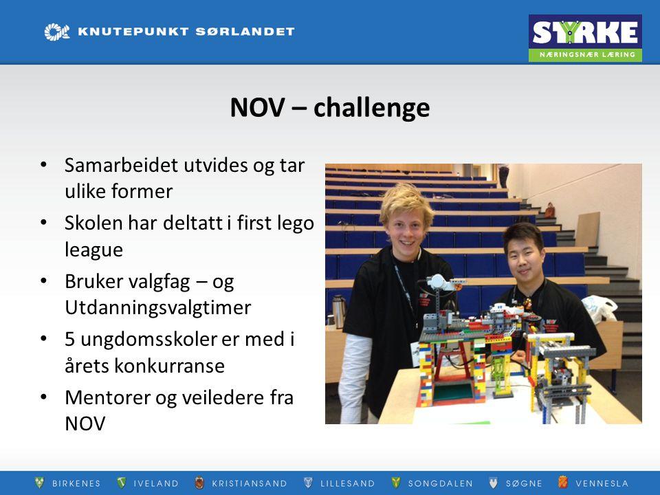 NOV – challenge Samarbeidet utvides og tar ulike former Skolen har deltatt i first lego league Bruker valgfag – og Utdanningsvalgtimer 5 ungdomsskoler