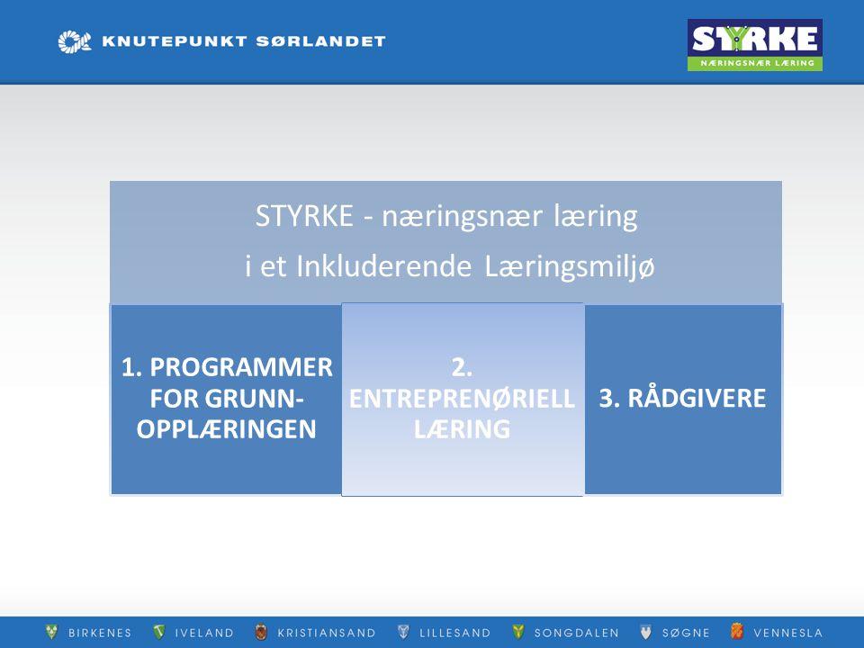 STYRKE - næringsnær læring i et Inkluderende Læringsmiljø 1. PROGRAMMER FOR GRUNN- OPPLÆRINGEN 2. ENTREPRENØRIELL LÆRING 3. RÅDGIVERE
