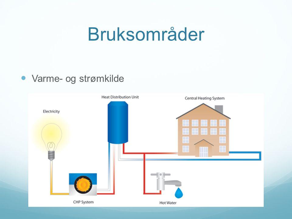 Bruksområder Varme- og strømkilde