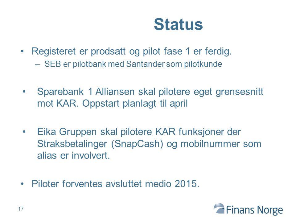 Registeret er prodsatt og pilot fase 1 er ferdig. –SEB er pilotbank med Santander som pilotkunde Sparebank 1 Alliansen skal pilotere eget grensesnitt